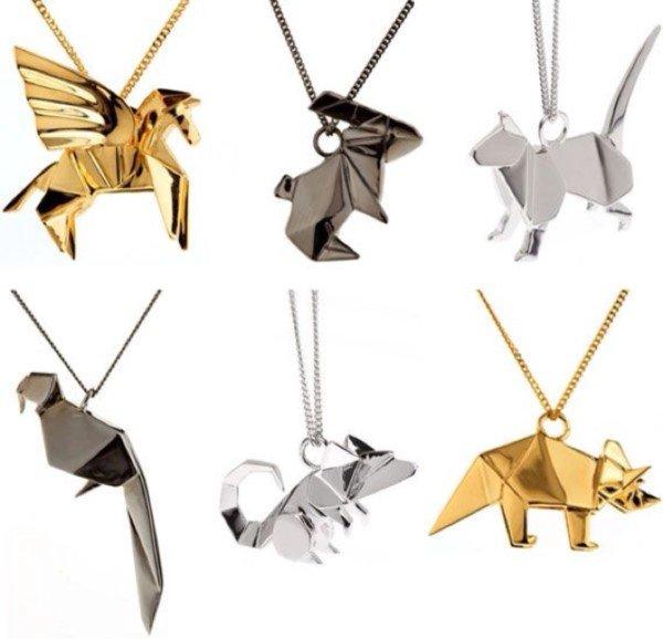 Origami ile yapılmış kolye tasarımları