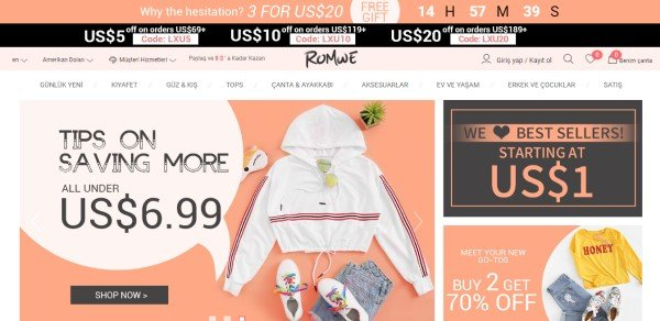 Romwe web sitesi
