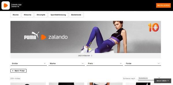 Zalando web sitesi