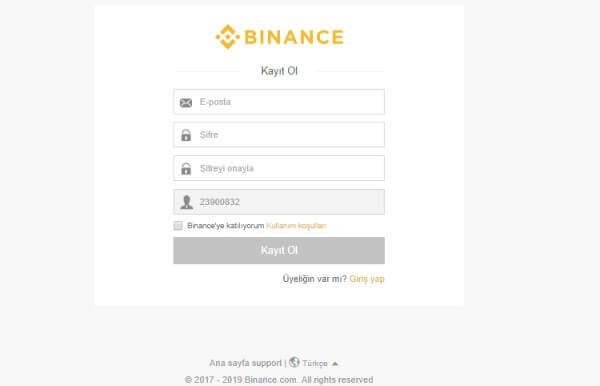 Bitcoin Hesap Açma işlemi yapmak için resimde görüldüğü gibi istenen bilgileri doldurmanız gerekiyor.